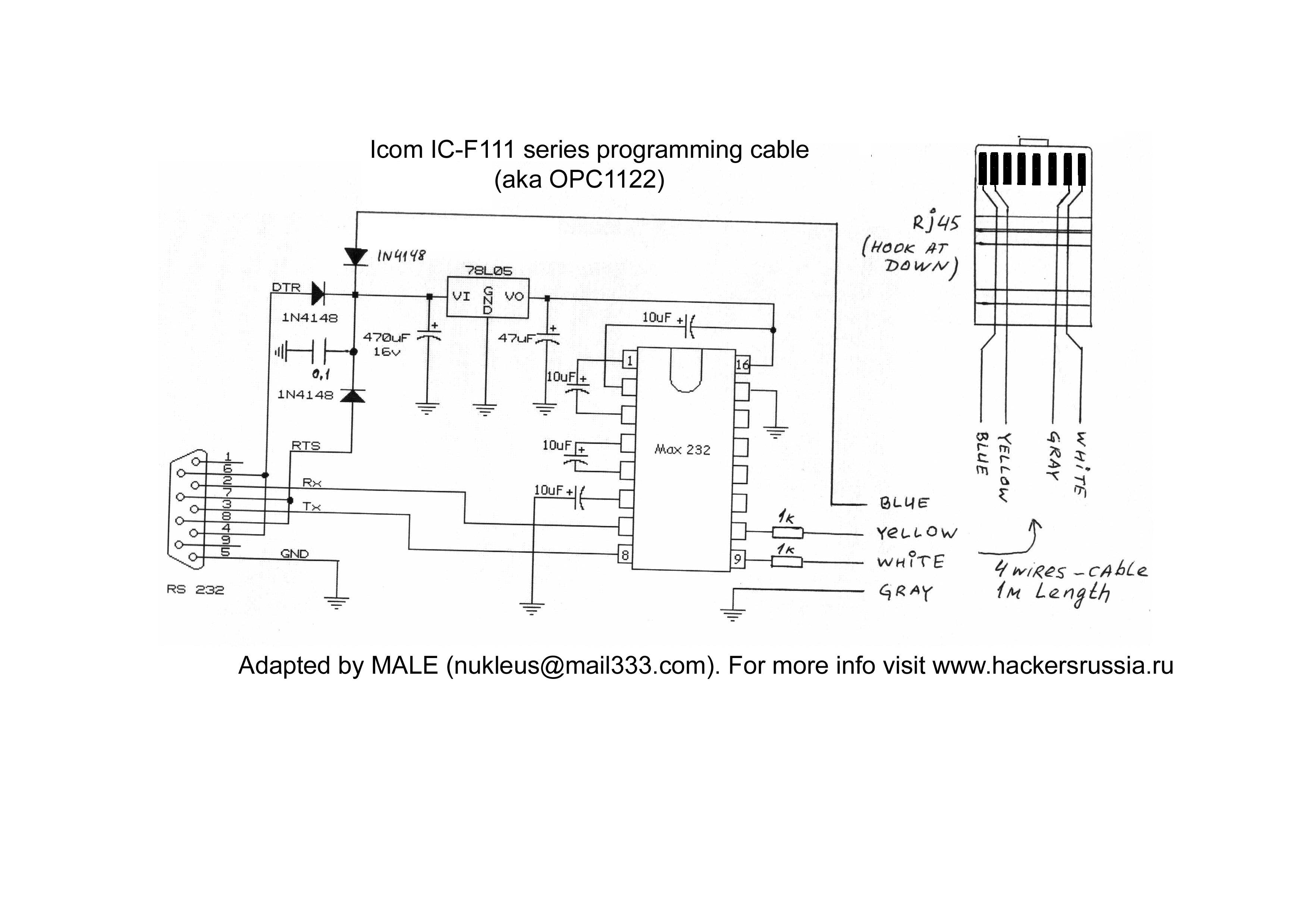 Icom Wiring Design Software Ware Opc1122 Schematic This Cable Need To Program Ic F100 Series Mobiles